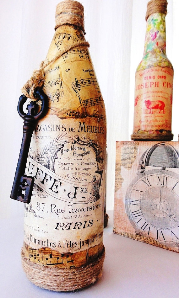 Декупаж бутылок своими руками под старину 56