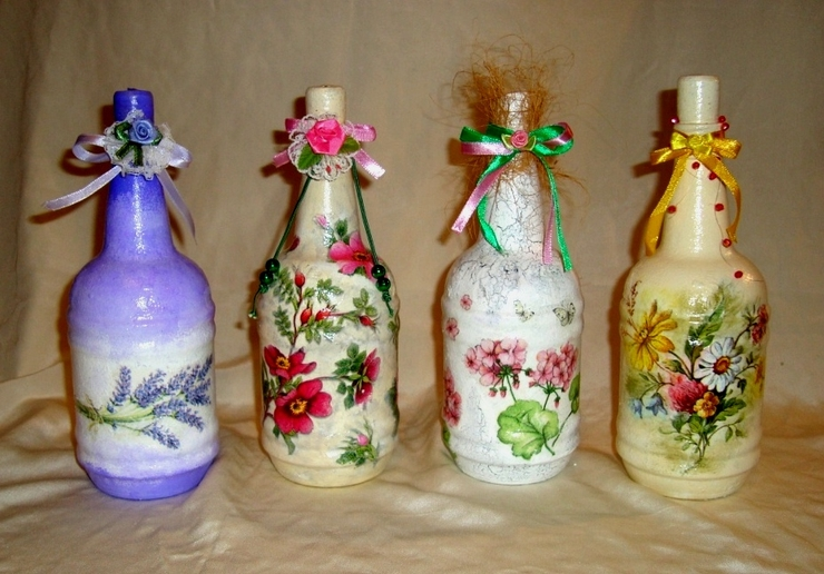 Декорация бутылок своими руками фото