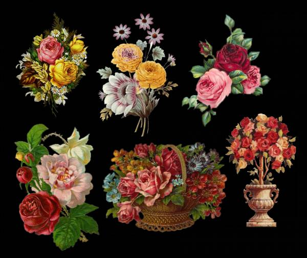 Картинки для декупажа розы на черном фоне